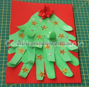 hand patterns christmas tree crafts for kids