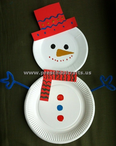 newest craft ideas paper plate snowman craft idea preschool crafts 2552