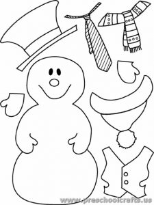 snowman cut paste activity for kids
