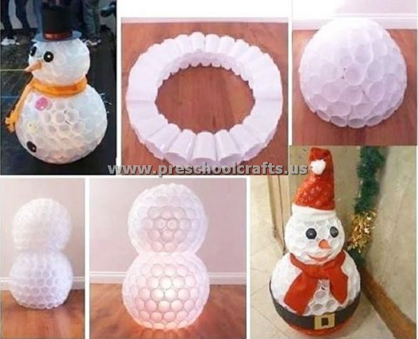 plastic cup craft ideas snowman decoration ideas from plastic cup preschool crafts 5217