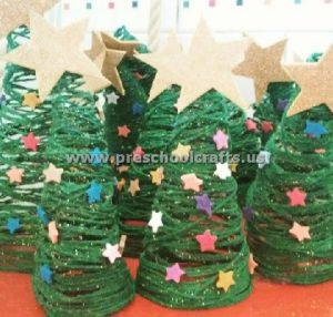 yarn christmas tree crafts for kids
