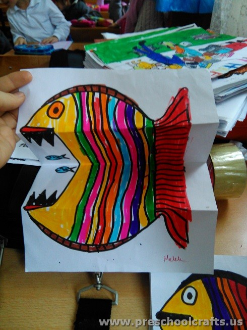 Folding Fish Paper Project for Kids - Preschool and Kindergarten