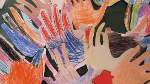 colored hand craft for kindergarten