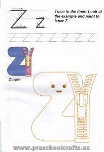 alphabet letter z worksheets for preschool