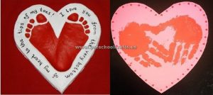 footprint and handprint crafts for valentines day