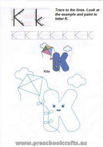 free alphabet letter k worksheet for preschool