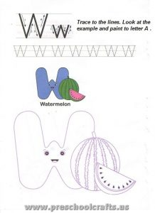 free alphabet letters w worksheets for kids