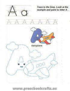 free capital letter a worksheet for preschool