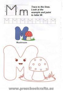 free printable letter m worksheet for preschool