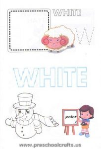 kindergarten w is for white coloring page