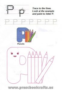letters p worksheets for kids