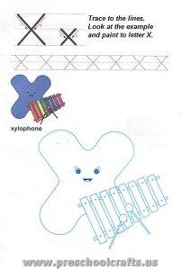 preschool letter x worksheets
