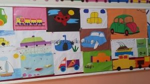 Preschool bulletin board related to Vehicles Theme
