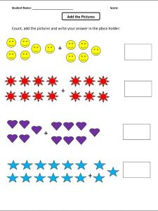Add the picture math worksheets for preschool
