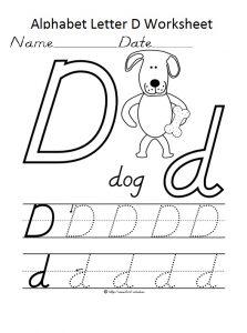 Alphaber letter d worksheet