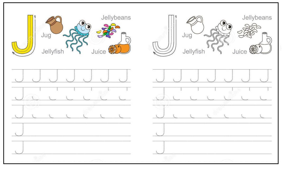 Colored Letter J Worksheets Alphabet J sound handwriting