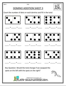 Domino addition worksheet for preschool