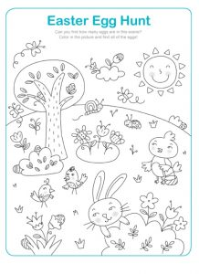 Easter Egg Hunt Worksheet for Kindergarten
