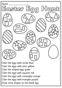 Easter Egg Hunt Worksheet for Preschool