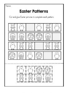 Easter Patterns Worksheet - Cut and glue easter pictures to complete each pattern
