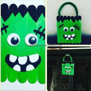 Frankenstein popsicle stick craft idea