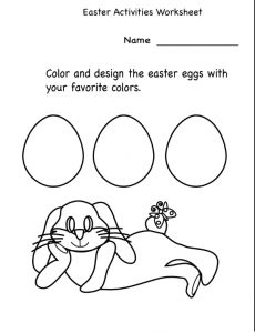 Happy Easter Activities Worksheet - Color and design the easter eggs with your favorite colors
