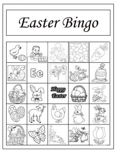Happy Easter Bingo Worksheet for Preschool