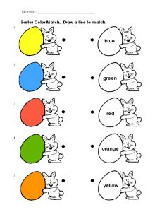 Happy Easter Colored Match Worksheet for Preschool