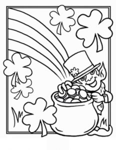Happy St. Patrick's Day printable coloring pages for preschooler