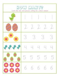 How Many Easter Worksheet for Preschool