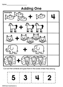 Kindergarten addition worksheet animals