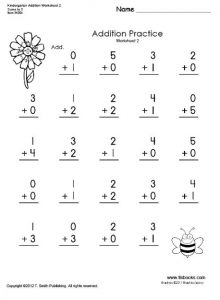 Preschool addition practice worksheet