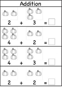Preschool addition worksheet