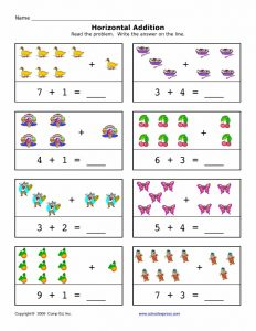 Preschool horizontal addition worksheet