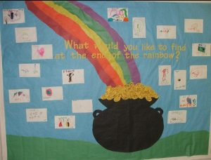 Saint Patrick's Day End of The Rainbow Bulletin Board for Kindergarten