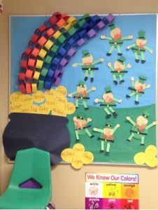 St patricks day - the golden bulletin board at the end of the rainbow