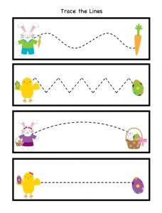 Trace the Lines Worksheet for Happy Easter