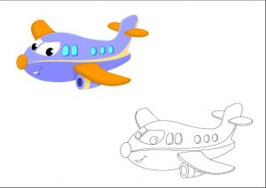 airplane colored coloring pages for kindergarten and preschool