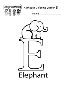 alphabet coloring letter E for kindergarten