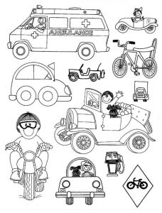 ambulance-car-bicycle-motorcycle coloring pages for preschool