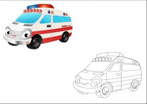 ambulance colored coloring pages for kindergarten and preschool free printable