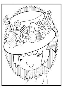 bonnet coloring pages for happy easter