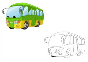 bus colored coloring pages for kindergarten and preschool free printable