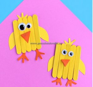 chick popsicle stick kids crafts