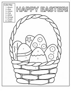 color key number happy easter worksheet for preschool
