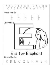 e is for elephant worksheet for prescholl