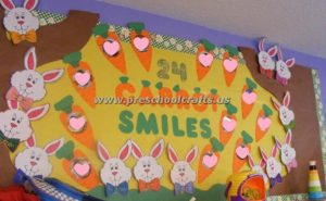 easter bunny carrots bulletin board idea for kids