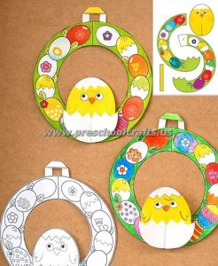 easter chick color and cut crafts for kids