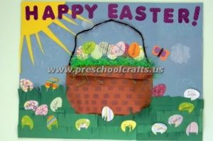 easter egg basket bulletin board for kids