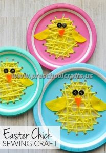 easter paper plate yarn crafts for kids